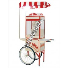 STAINLESS STEEL CART FOR POPCORN MACHINE WITH ROOF AND LAMP