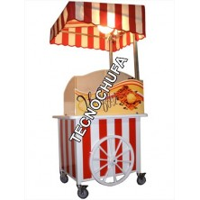 STAINLESS STEEL CART WITH ROOF AND LAMP WAFFLES